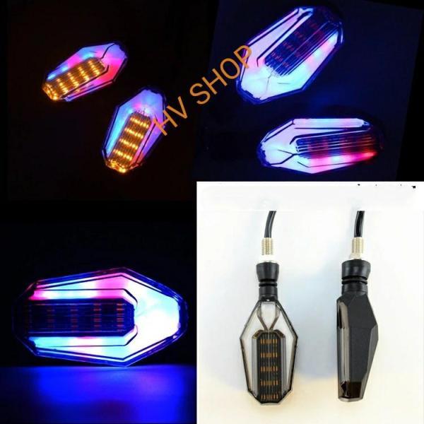 xi nhan xe may Bộ 2 đèn Độ xe máy 1 mặt 2 màu HV shop ( tráng gương + vàng )