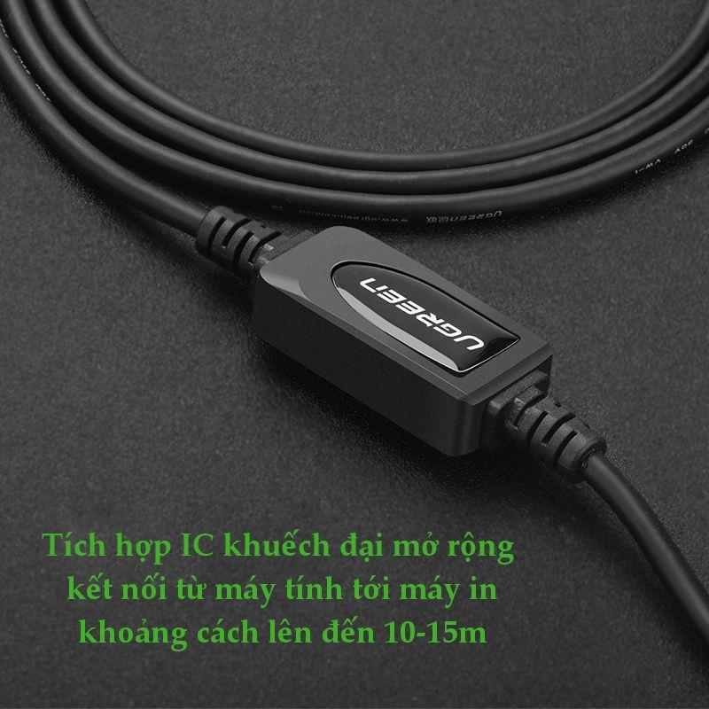 Cáp máy in USB 2.0 sang USB-B tích hợp IC khuyếch đại dài 10-15m UGREEN US122 - Hãng phân phối chính thức