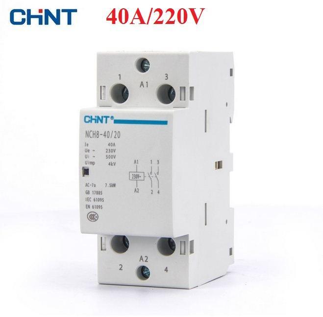 Khởi động từ, contactor 1 pha CHINT NCH8 40A/220V (Xám)