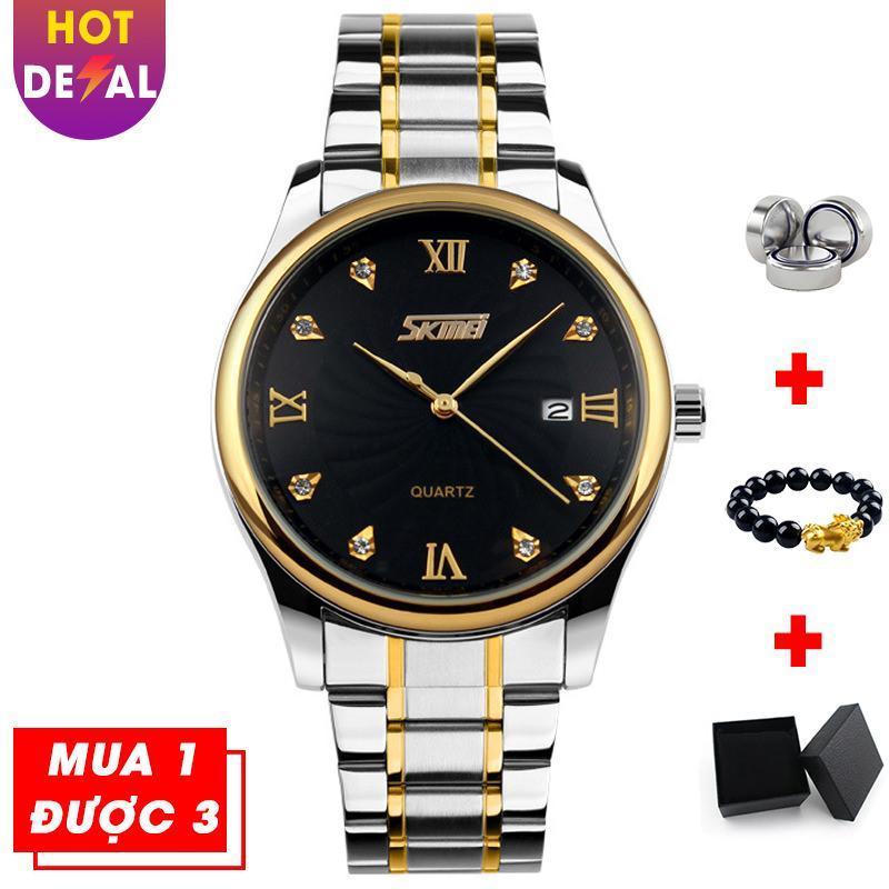 Đồng hồ nam mạ vàng mặt đính đá sang trọng SKMEI VK009 dây thép không gỉ bán chạy