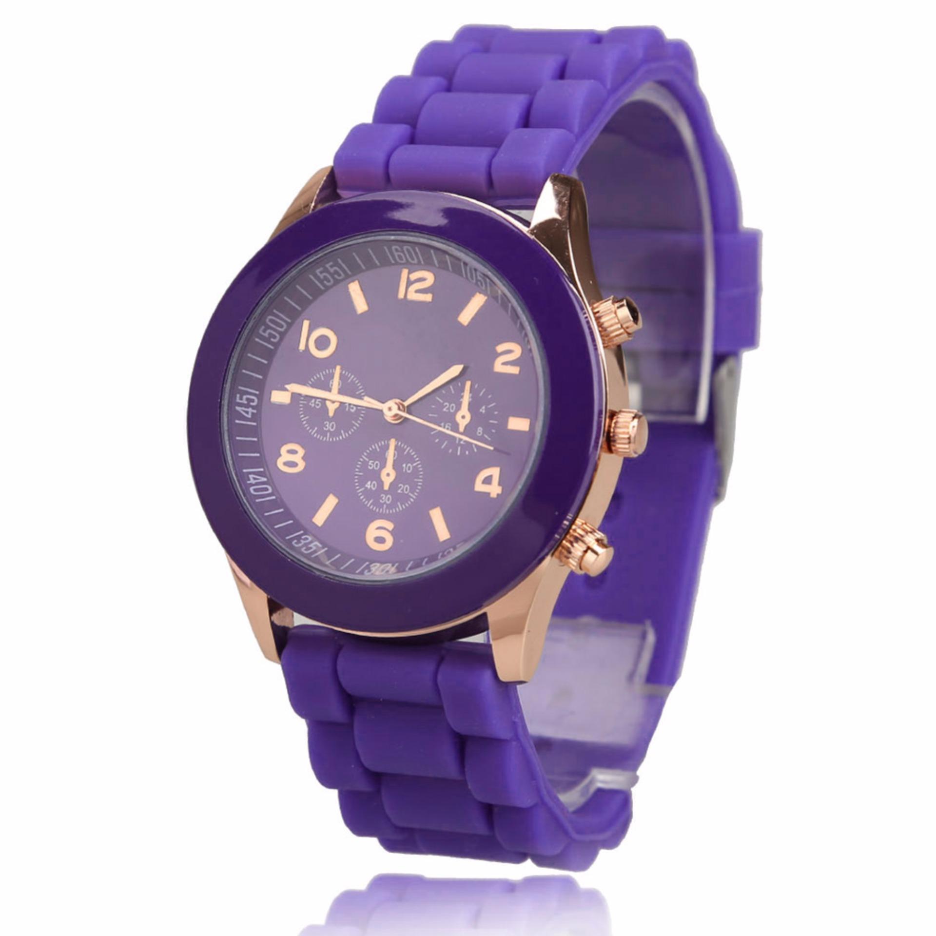 Giá bán Amart Girls Candy Wrist Watch Quartz Silicon Watchband (Purple) - intl