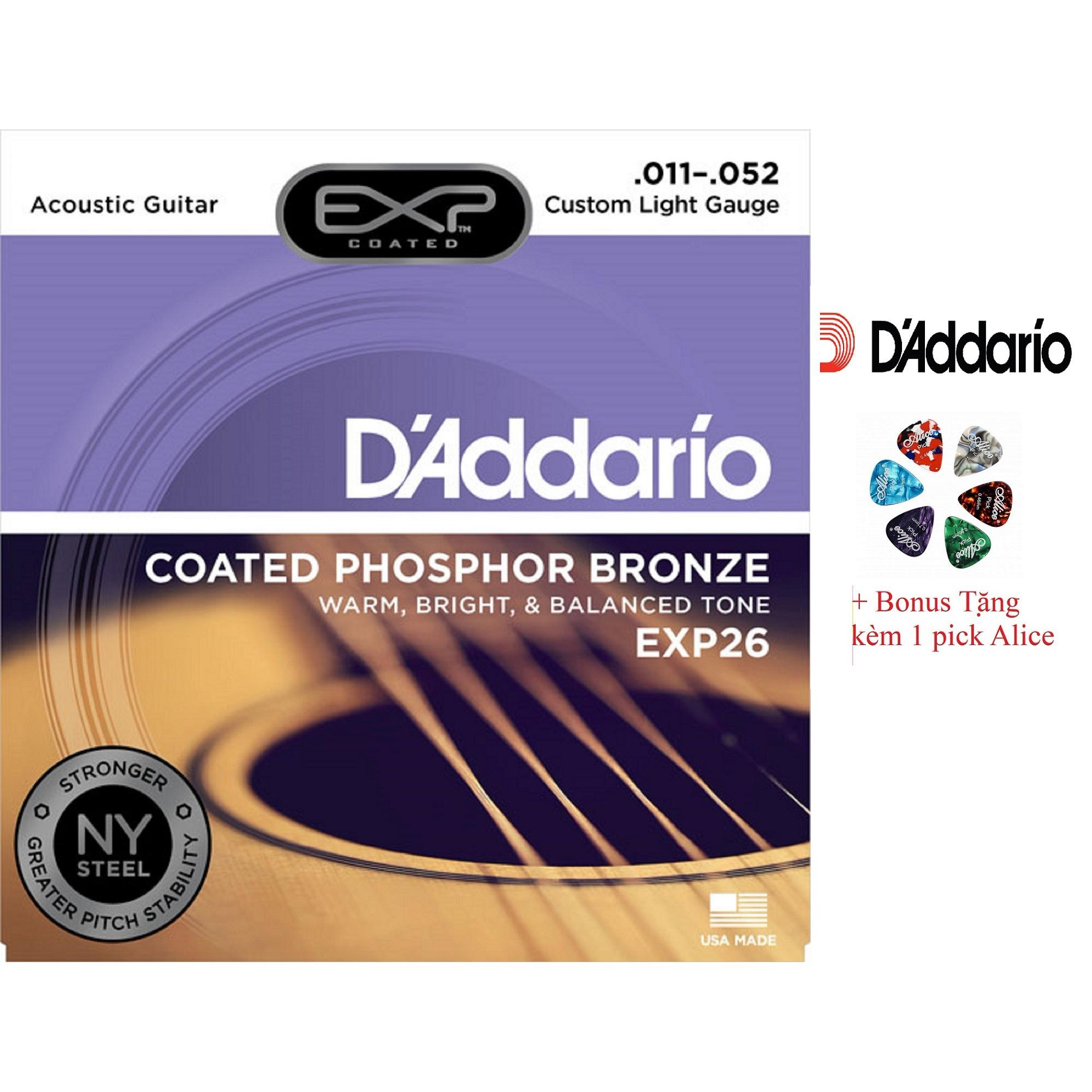 Giá Bán Bộ Hộp 6 Day Đan Guitar Acoustic D Addario Exp26 Cao Cấp Pick Alice Cỡ 11 Mới