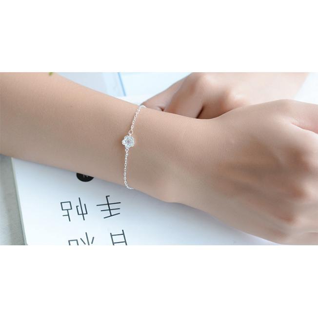 Lắc Tay Hoa Đào 5 Cánh Hàn Quốc Bạc 925 ( Free Size )