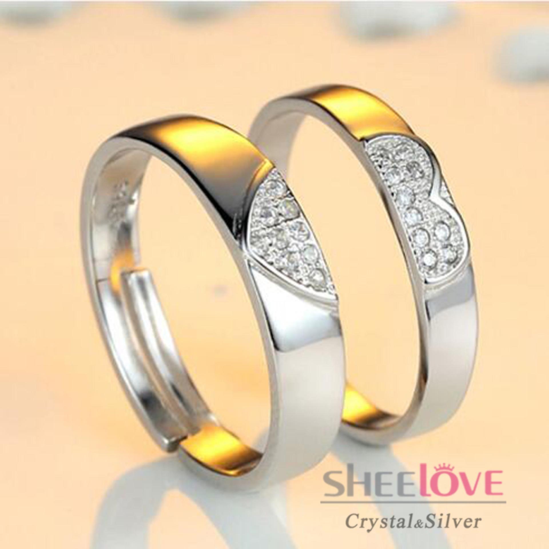 Nhẫn đôi Bạc S925 -30% Thời Trang Hàn Quốc Chất Lượng Cao Cấp Freesize Giá Sỉ Quà Tặng Hộp Đẹp đính đá Lấp Lánh Dễ Thương (1 Cặp 2 Chiếc) Bất Ngờ Giảm Giá