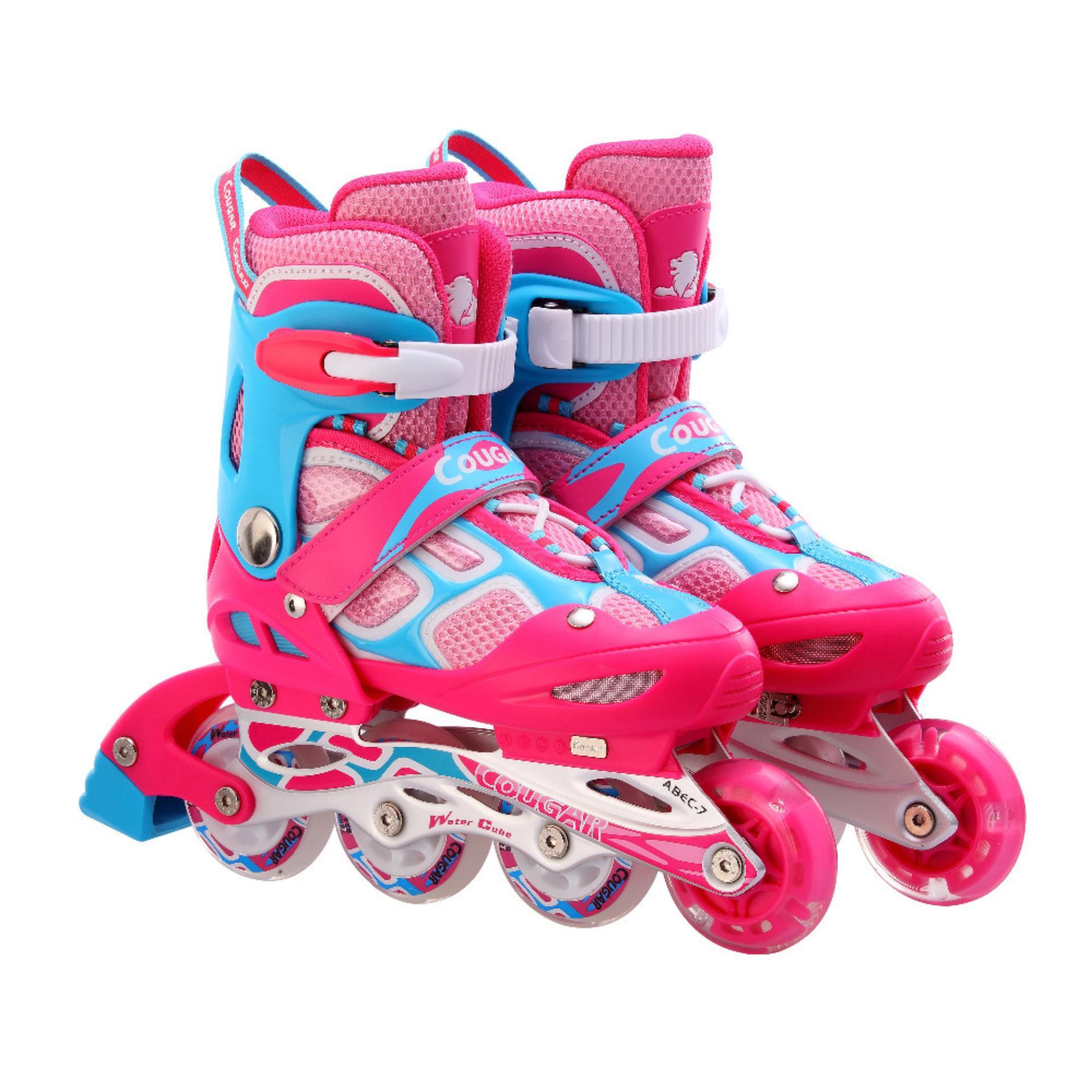 Giày trượt patin Cougar màu hồng xanh có đèn