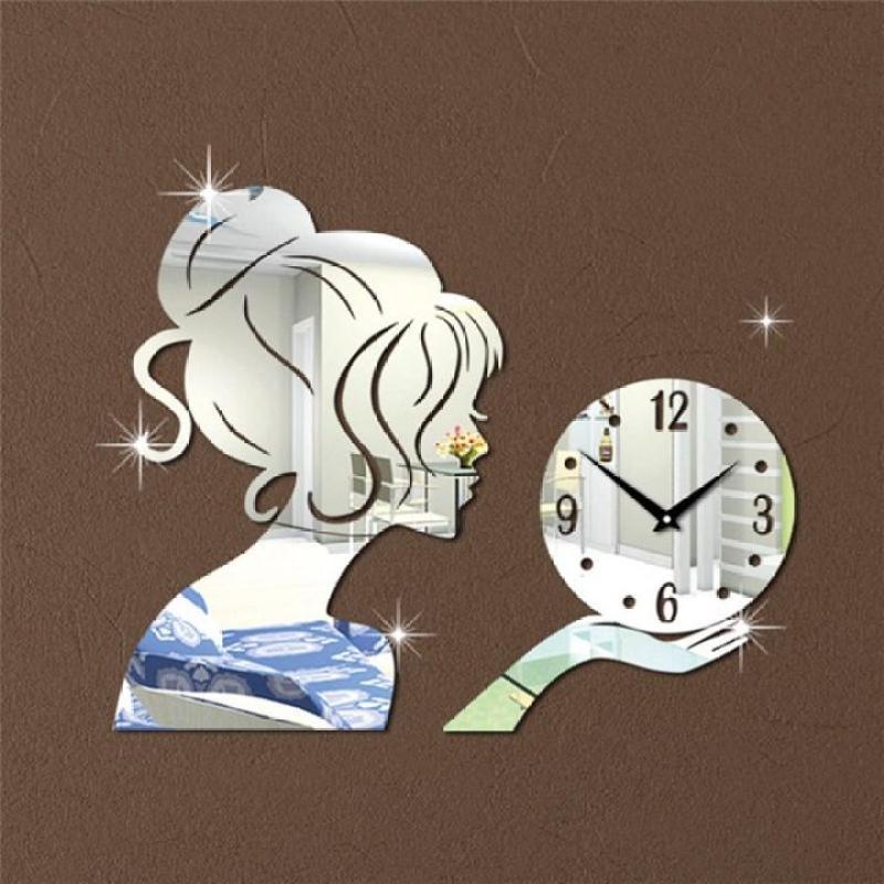 Đồng hồ dán tường nghệ thuật DIY - Cô Gái