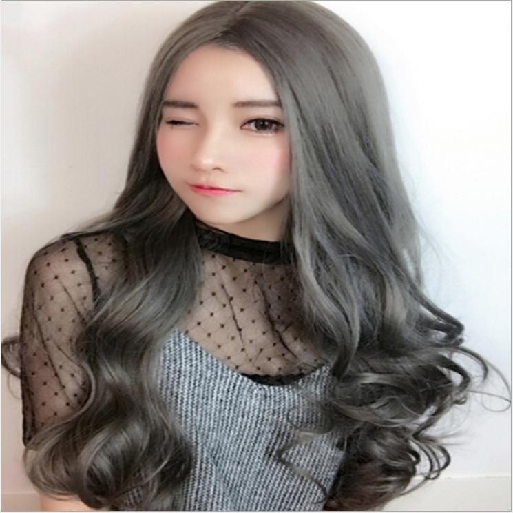 [TẶNG KÈM LƯỚI] Tóc giả nữ nguyên đầu sợi tơ Hàn Quốc CÓ DA ĐẦU - TG873 ( MÀU XÁM KHÓI )
