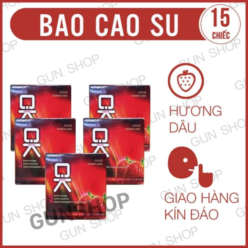 Bộ 5 Hộp Bao Cao Su OK Mùi Hương Dâu Tây ( Hộp 3 chiếc ) - [ Gunshop-BCS05 ] cao cấp