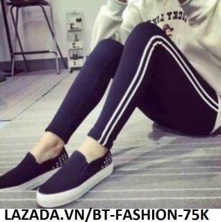 Quần Dài Nữ Thun Ôm Legging 2 Sọc Thể Thao Thời Trang Hàn Quốc - BT Fashion (2S-01A) thumbnail