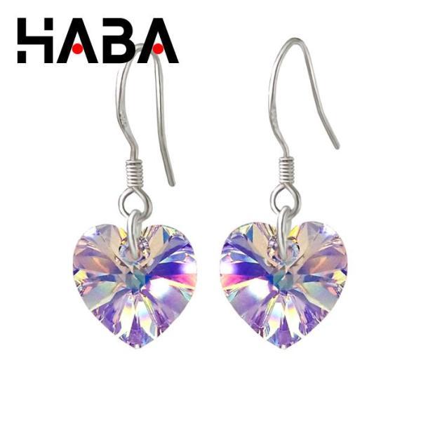 HABA-Bông tai bạc ta mặt trái tim pha lê swarovski lấp lánh BT-PL011