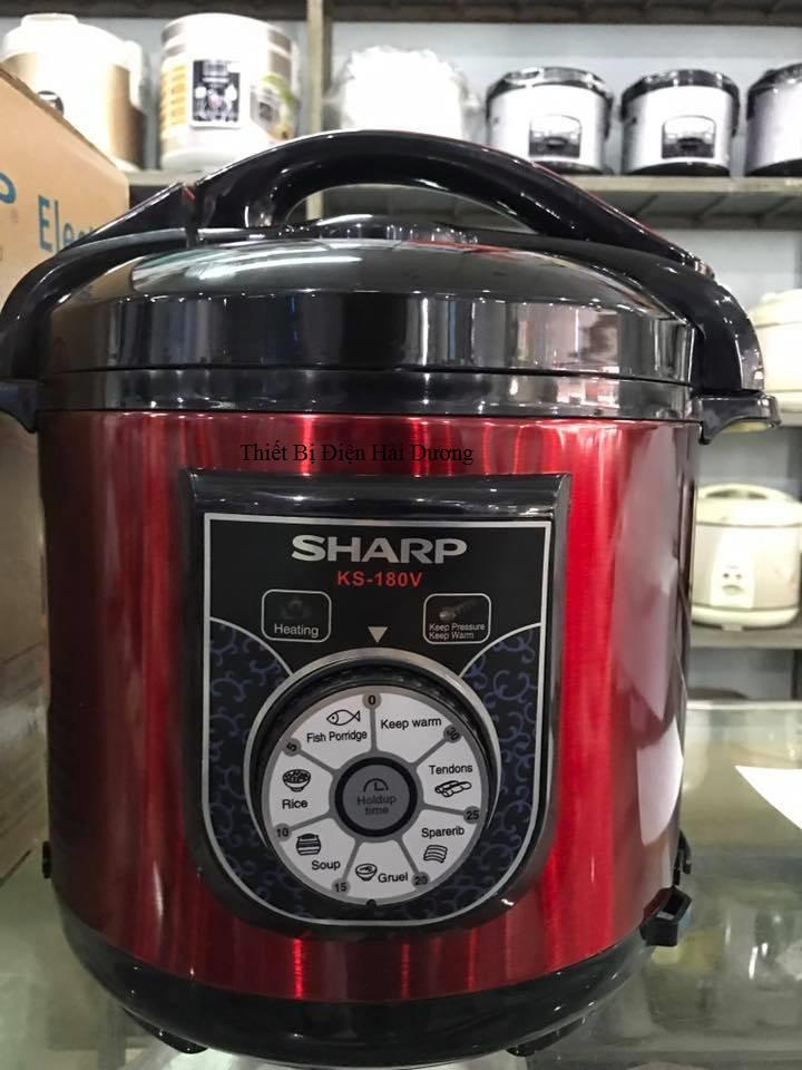 Hình ảnh Nồi áp suất điện cơ Sharp KS-180V 6 lít 1000W (Đỏ)