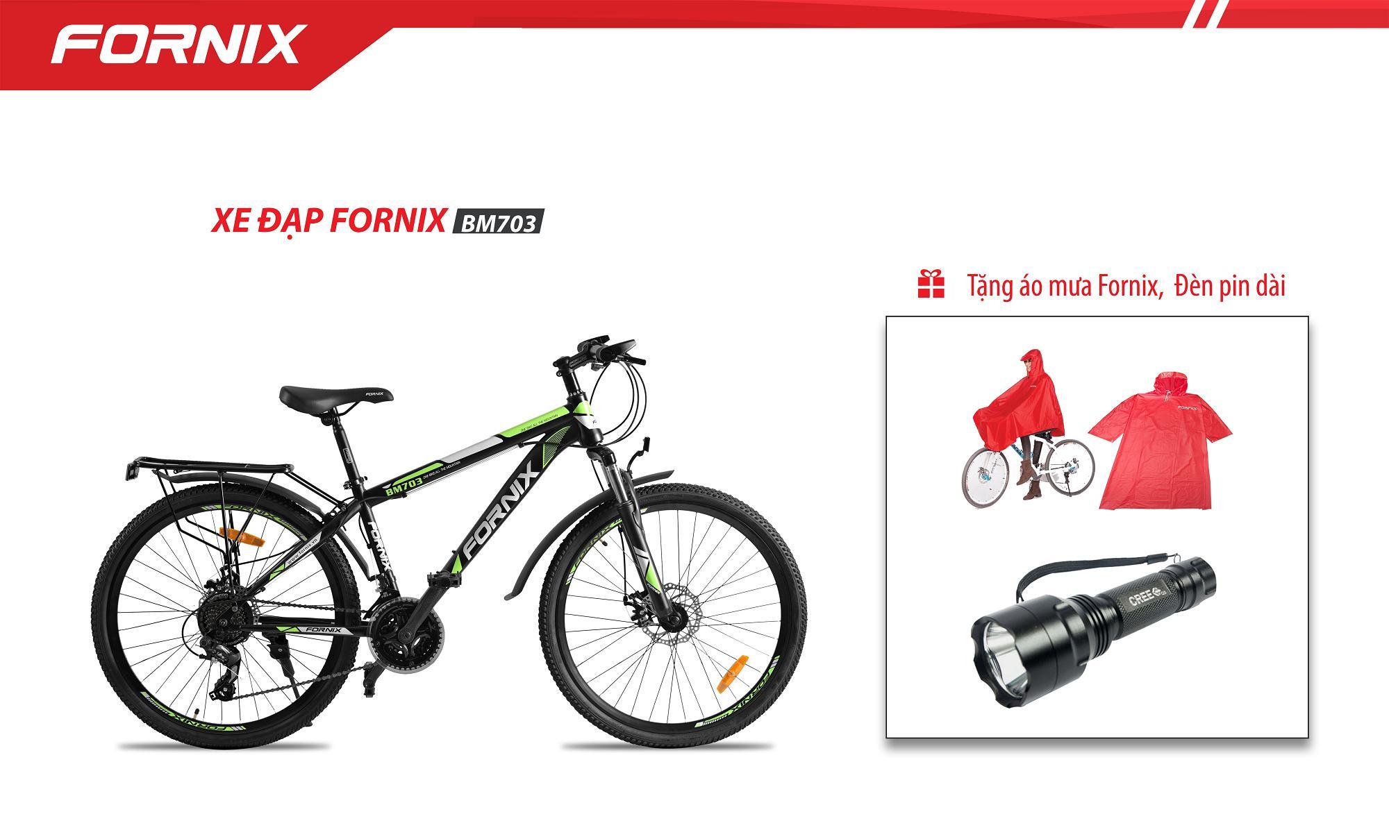 Xe đạp địa hình hiệu FORNIX BM703 + tặng áo mưa fornix và đèn pin