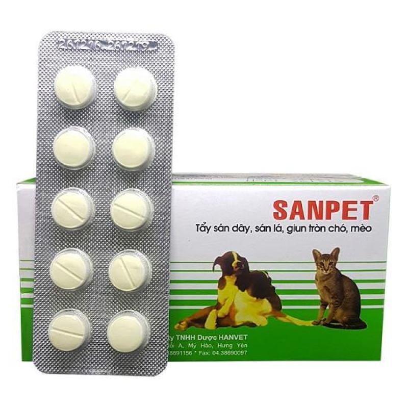 Hanapet-10 viên  XỔ GIUN SANPET - ( UK   303) tẩy giun sán và sổ lãi chó mèo.