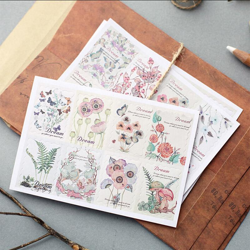 Mua 2sets DIY Vintage Retro Classic Paper Animal Plant Flower Stamp Sticker For Decoration Diary Scrapbooking Album Stationery - intl