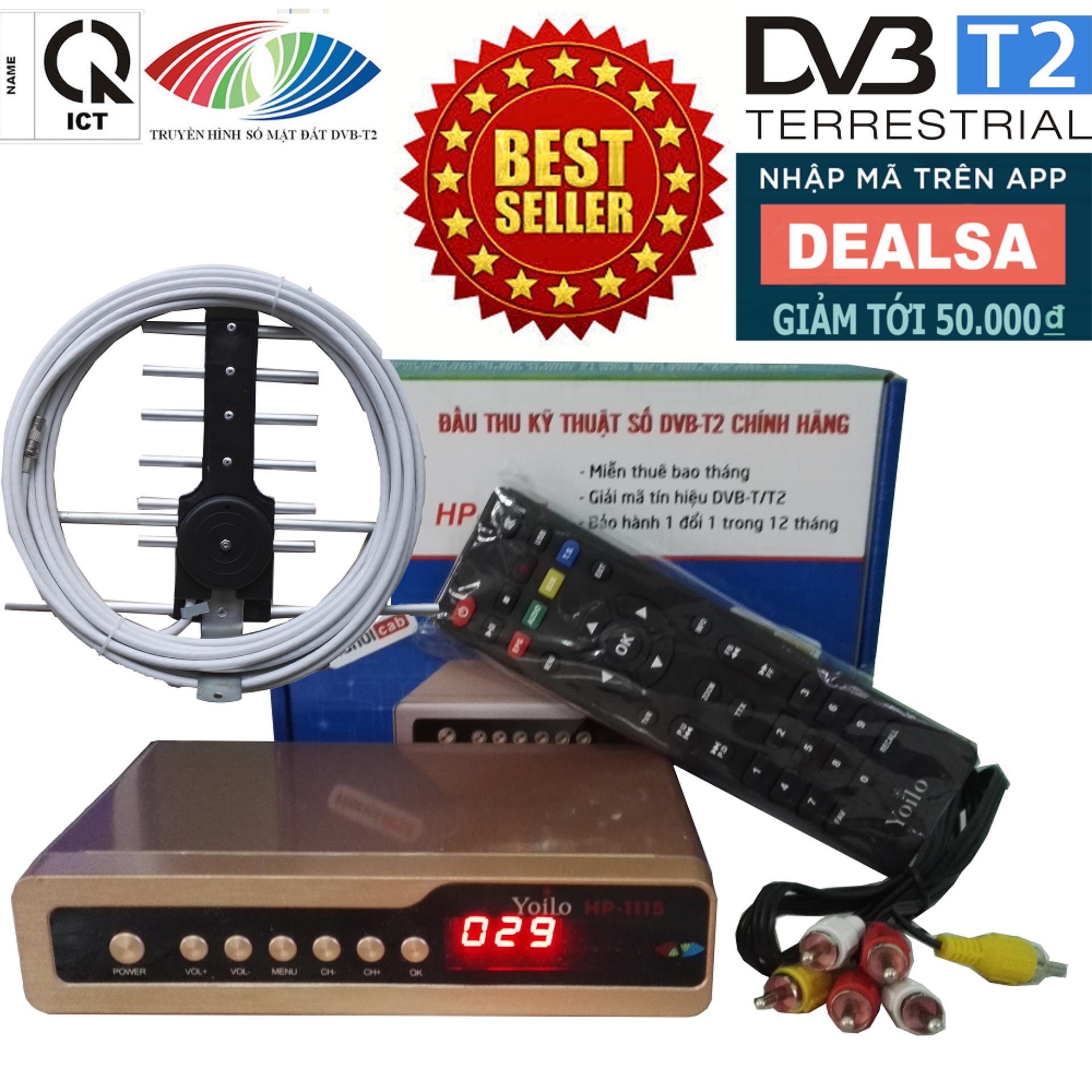 Hình ảnh Đầu thu kỹ thuật số SET TOP BOX DVB-T2/HP-1115 kèm Bộ Anten Thông Minh, Dây Cáp và Jack Nối
