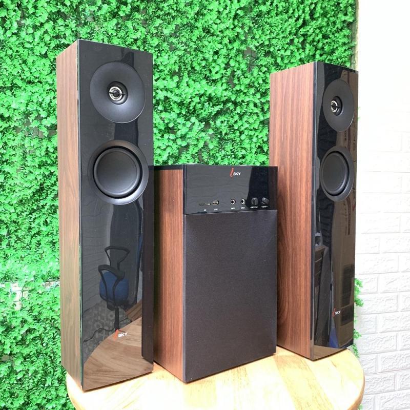 Dàn âm thanh khủng tại nhà kết nối Tivi , iphone, ipad, smartphone Hát karaoke - loa vi tính cỡ lớn  âm thanh Hifi siêu Bass đỉnh cao có kết nối Bluetooth  nghe nhạc qua USB thẻ nhớ Isky - SK325 (Tặng kèm Micro không dây) - Thiết kê vân gỗ