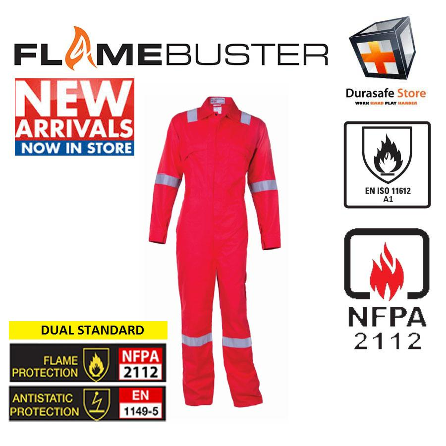 Bộ áo liền quần bảo hộ chống cháy FLAMEBUSTER FR 100% cotton Zip Màu Đỏ Size LL/54