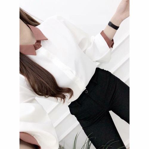 Áo Sơ Mi Nữ-thời trang hàn quốc-SM01-TRẮNG