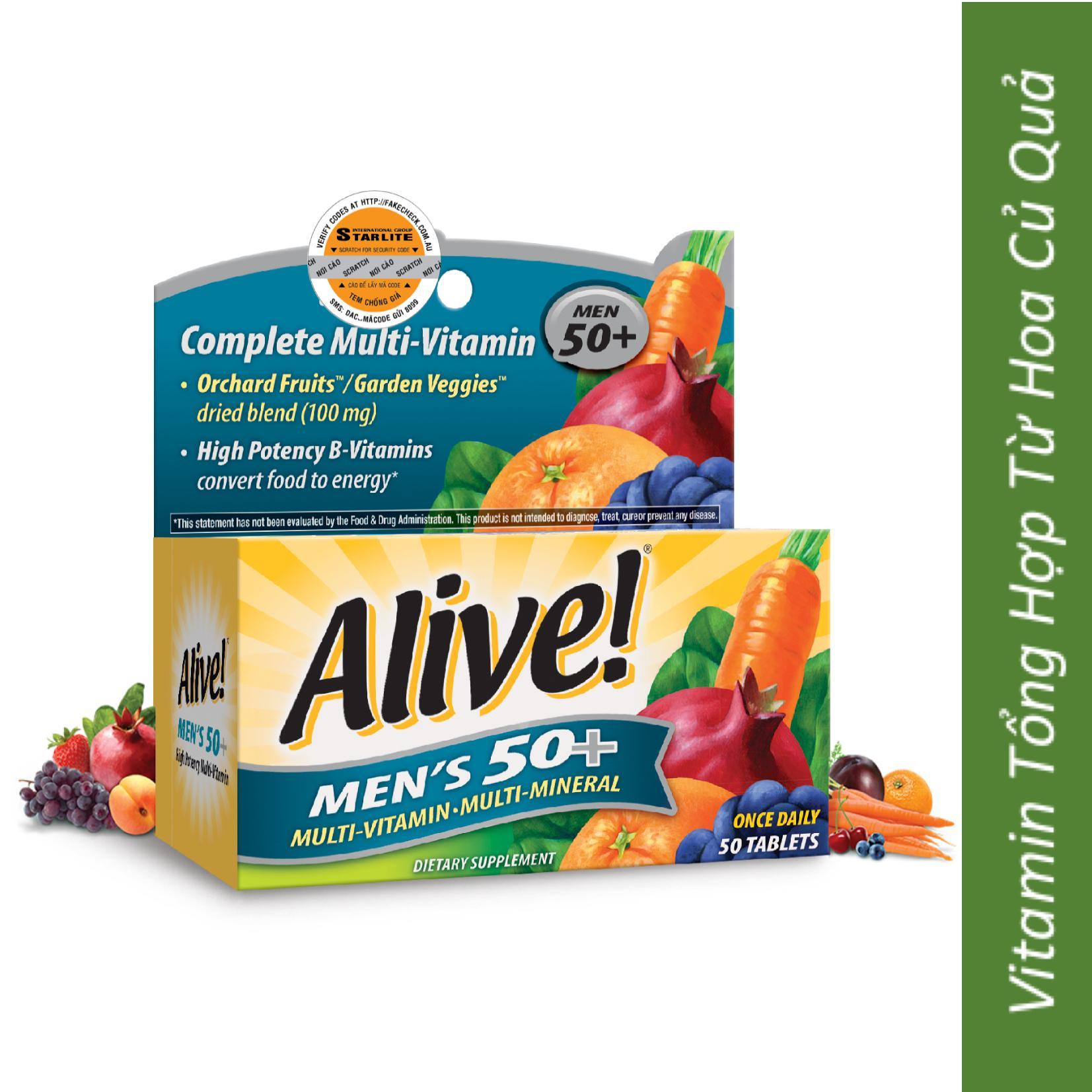 Vitamin Tổng Hợp Nam Giới Trên 50 Tuổi Alive Mens 50+, 50 Viên nhập khẩu