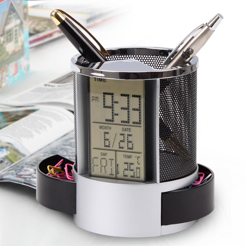 Mua Khay đựng bút có đo nhiệt độ phòng, đồng hồ, lịch kỹ thuật số, để bàn đa chức năng - hộp tròn