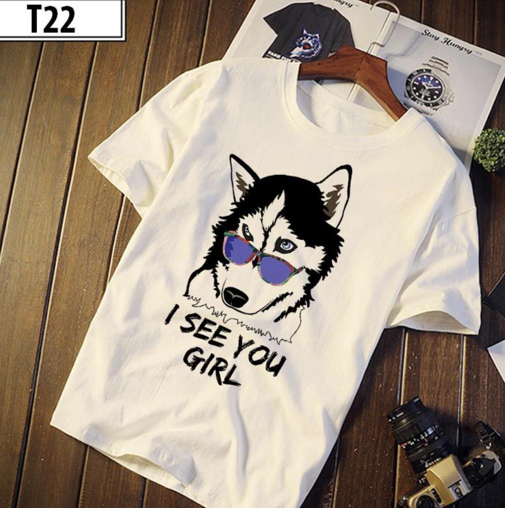 Hình ảnh Áo thun nam in hình sói mang mắt kính chất vải tốt (Trắng)