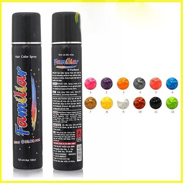 Keo xịt tóc màu Familiar 100ml - Màu k2 xám chồn