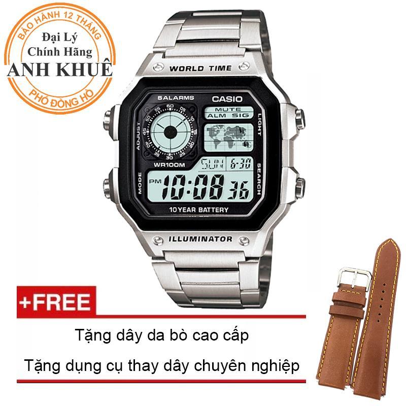 Đồng hồ nam dây kim loại Casio Anh Khuê AE-1200WHD-1AVDF + Tặng dây da bò cao cấp