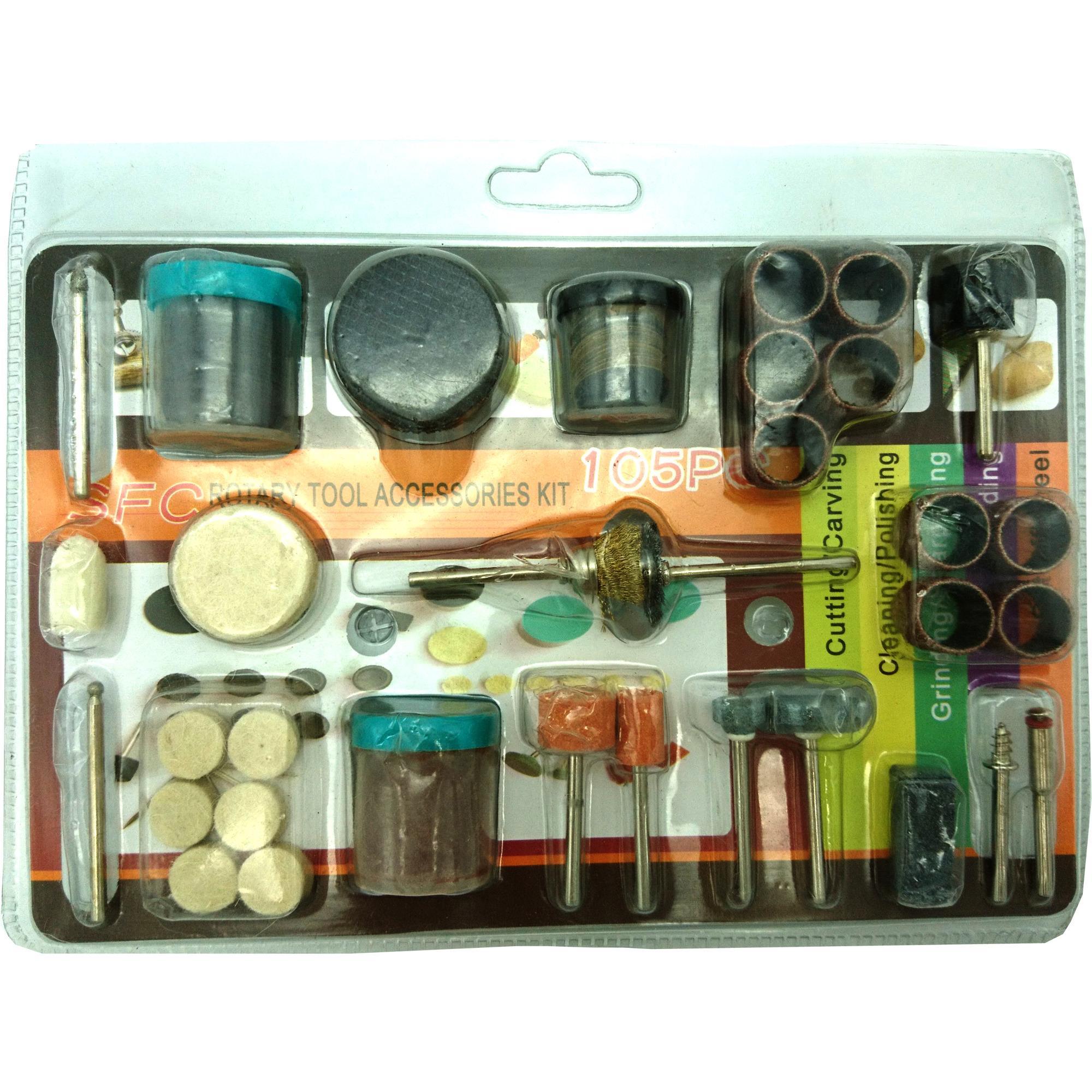 Hình ảnh Bộ 105 món đồ nghề phụ kiện cắt, mài, chà, đánh rỉ sét, đánh bóng cho khoan điện đa năng mini cầm tay (như Louxor, Dremel, ACZ, motor 775...)