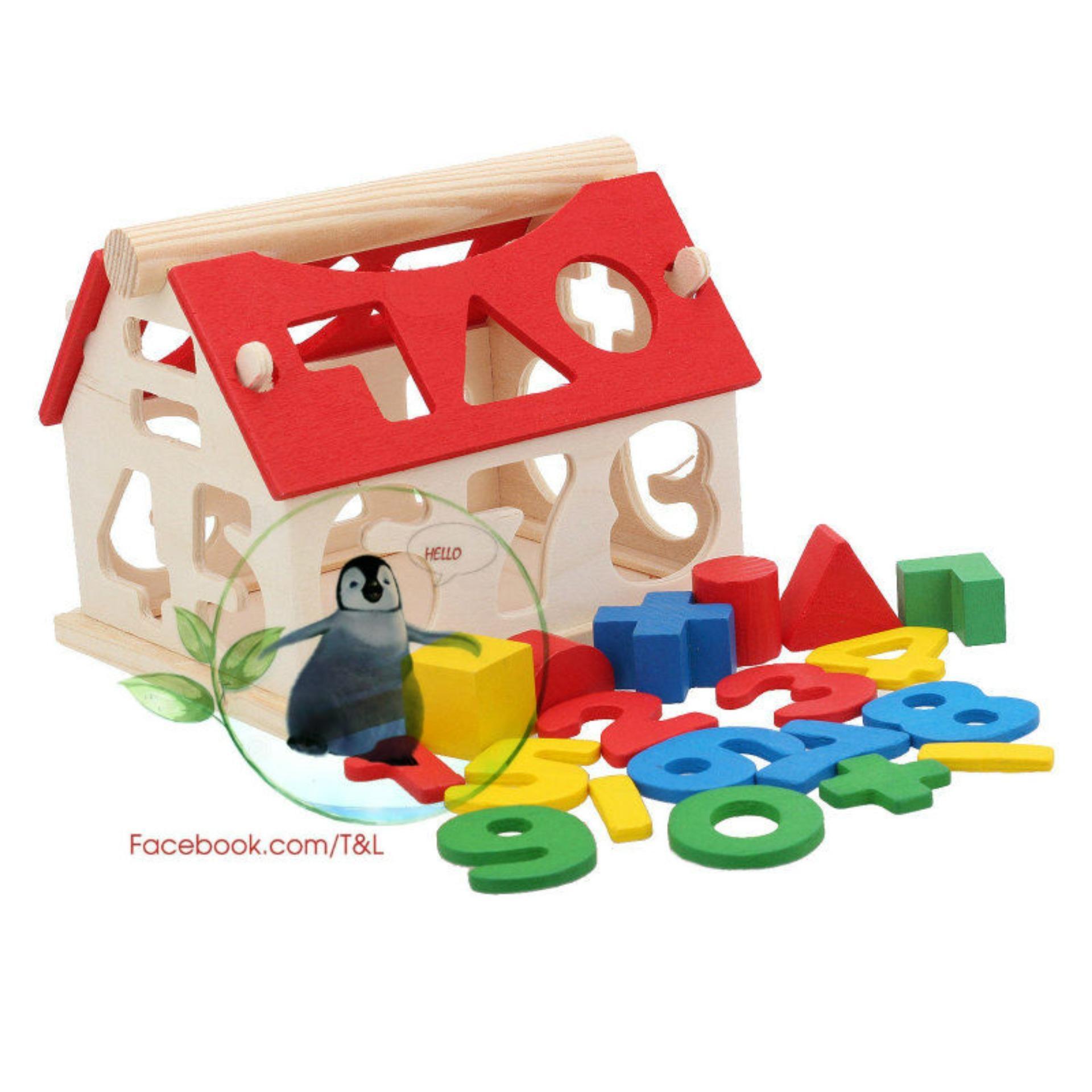 Hình ảnh Ngôi nhà thả hình gỗ trí tuệ cho bé