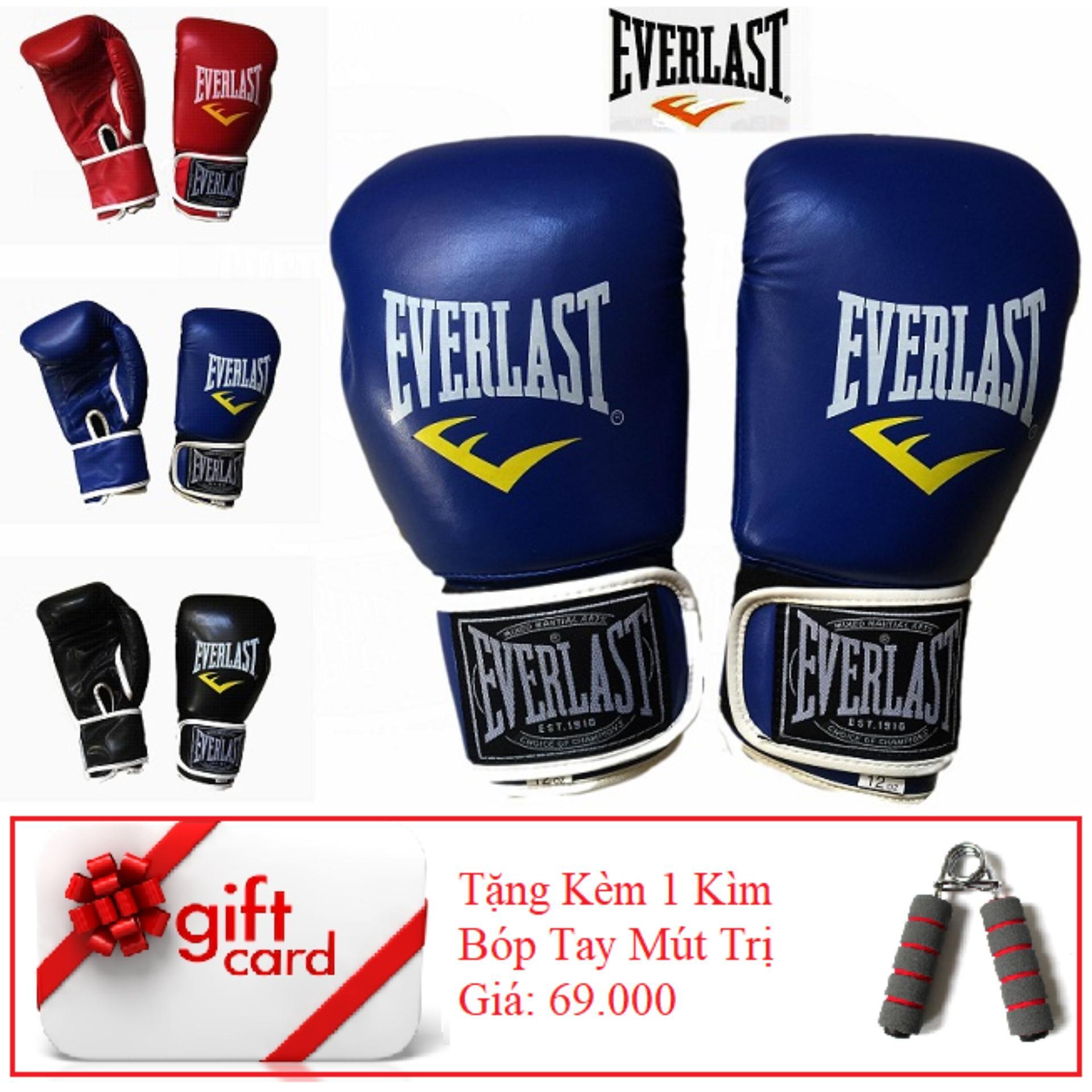 Hình ảnh Găng Tay Tập Đấm Boxing Cao Cấp - TiGi Mall - Tặng Kèm 1 Bóp Mút