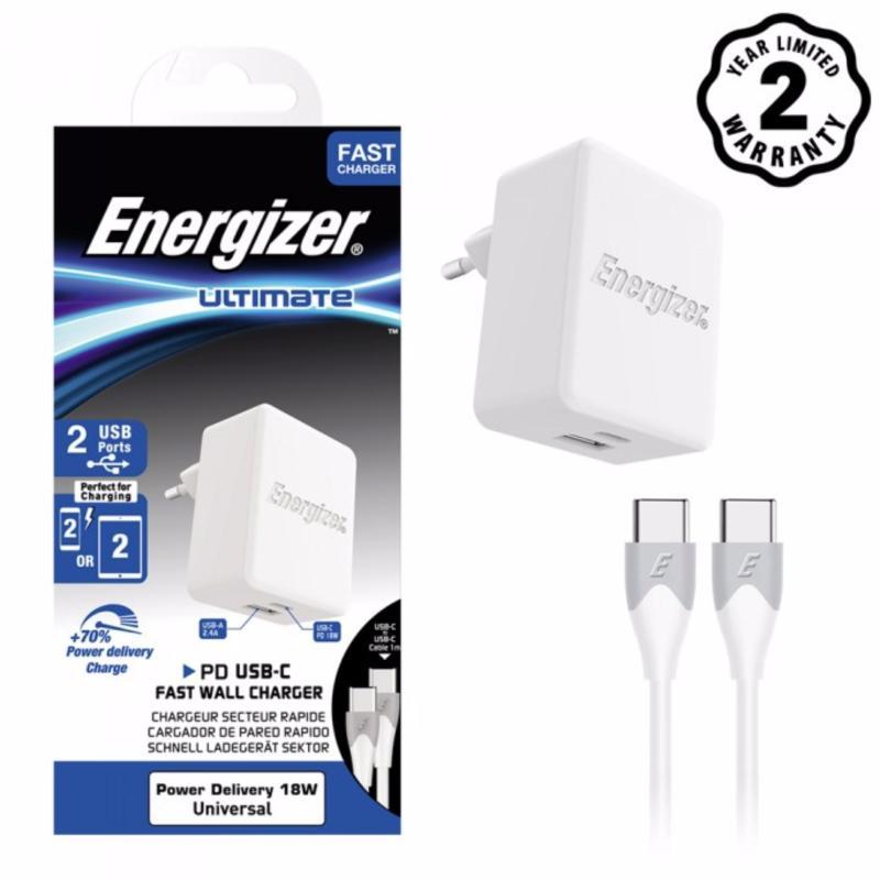 Sạc Energizer 2 cổng 30W USB Type C Power Delivery PD 18W - AC11PFEUUCC3 - Hãng phân phối chính thức