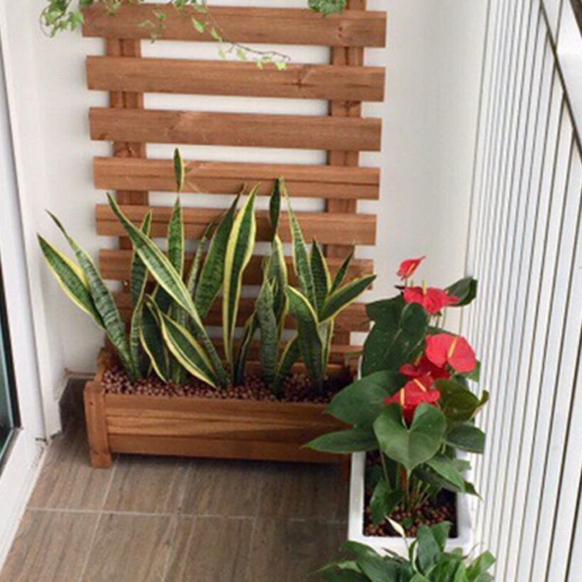 Chậu Gỗ trồng cây Chữ nhật lớn Greenhome