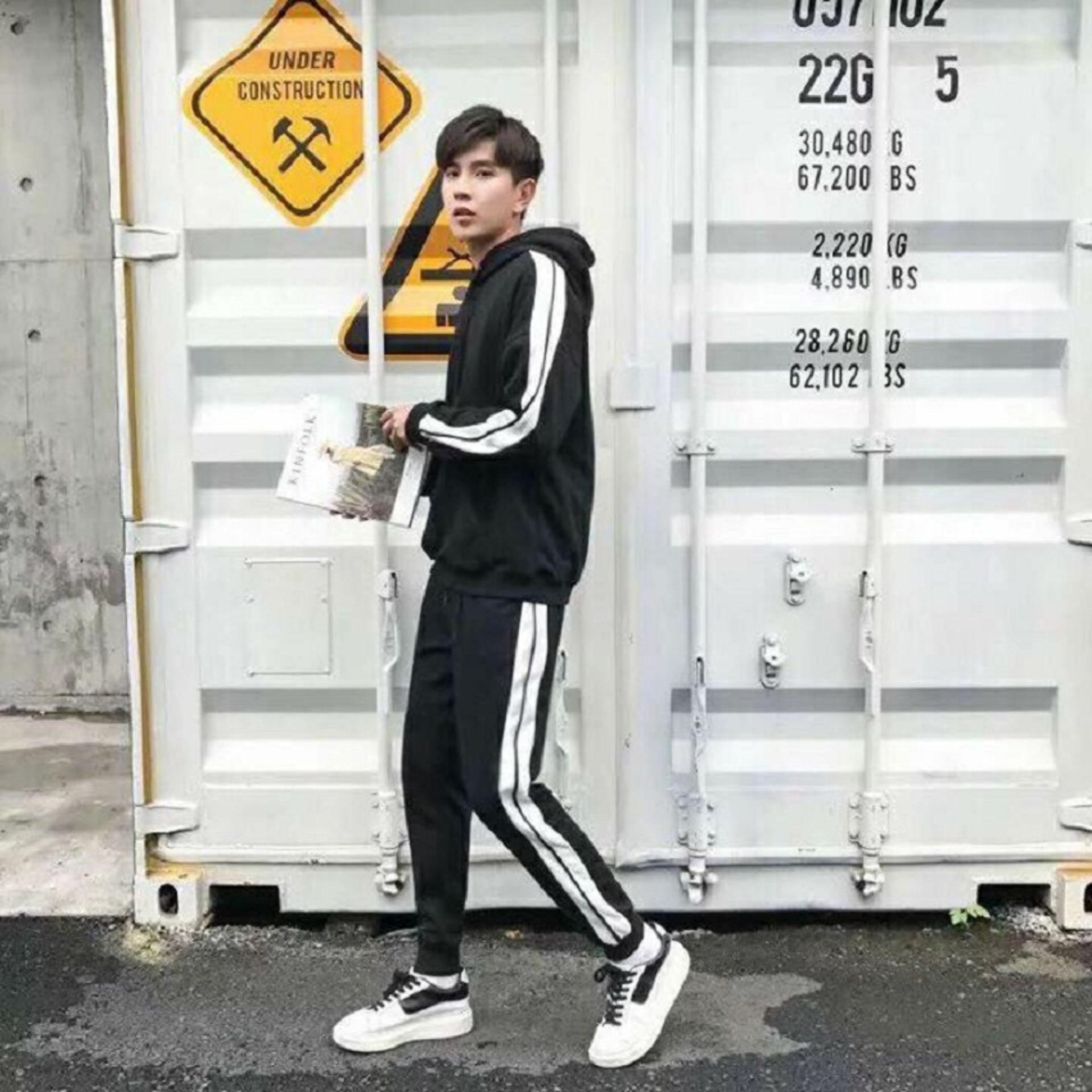 Hình ảnh Set quần áo nam dài tay có mũ thời trang Xưởng May giá rẻ MEN QA 10002 (đen)