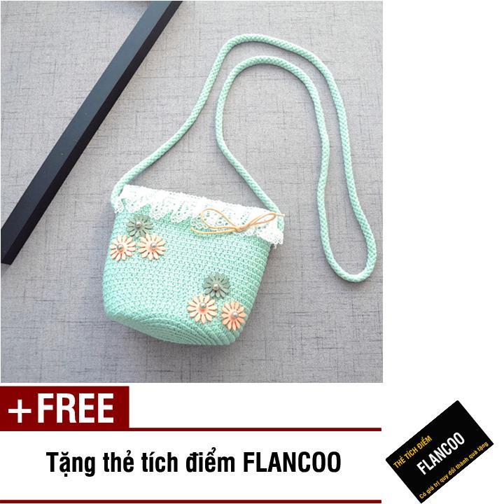 Giá bán Túi đeo chéo bé gái chất liệu cói dễ thương Flancoo 0291 (Xanh ngọc) + Tặng kèm thẻ tích điểm Flancoo