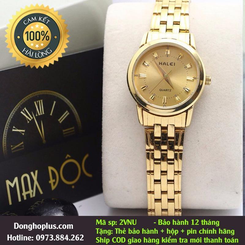 [SIÊU KHUYẾN MẠI] TẶNG PIN DỰ PHÒNG 100K-  Đồng hồ nữ Halei 2v Vàng Full- chống xước- chống nước: tặng hộp, pin dự phòng