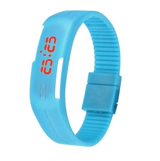 Đồng hồ LED dây nhựa kiêm vòng tay F591 (Xanh đậm) bán chạy