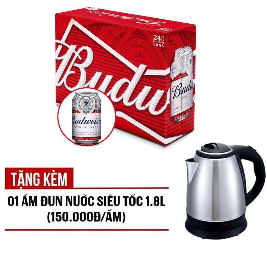 Budweiser lon 330ml - Thùng 24 Tặng kèm 01 ấm đun nước siêu tốc 1.8L