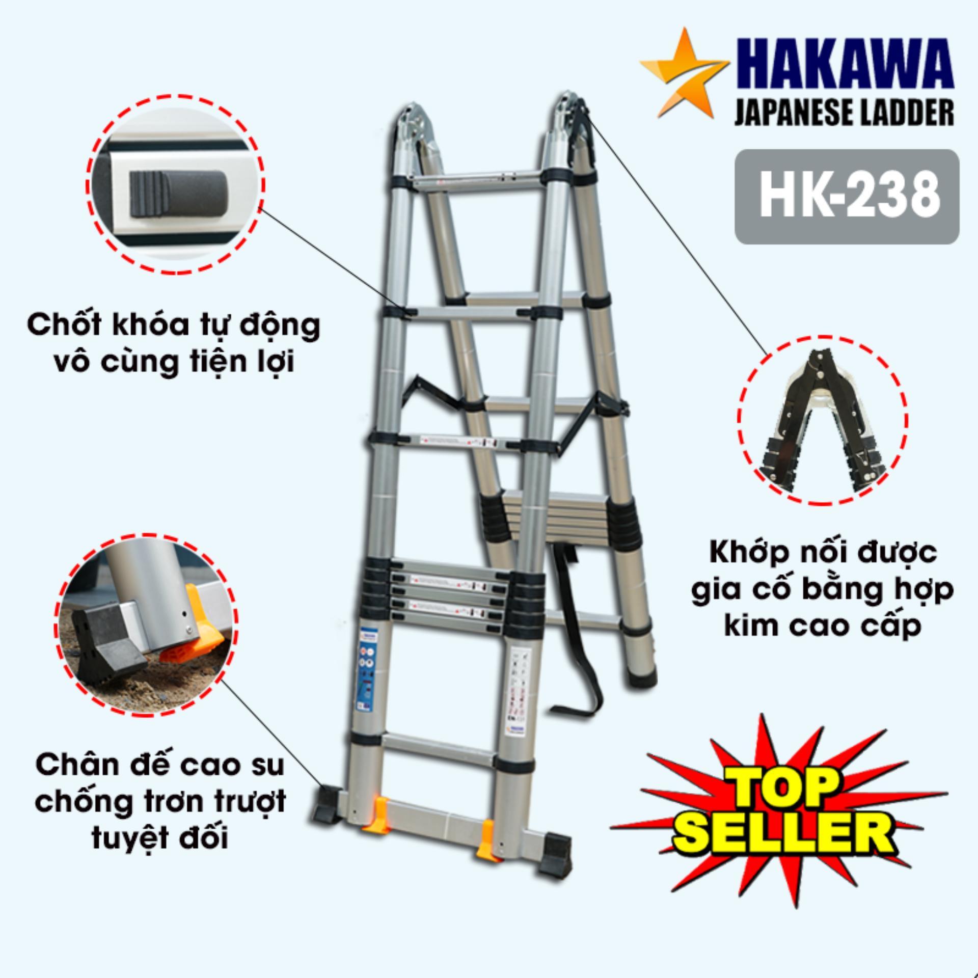 [HÀNG NHẬT CAO CẤP] Thang nhôm rút chữ a HAKAWA HK238 3m8 - Thang nhôm của Nhật Bản , tiện lợi , dễ di chuyển
