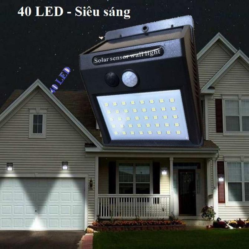 Đèn cảm biến hồng ngoại sử dụng năng lượng mặt trời solar 40 LED siêu sáng (Đen)