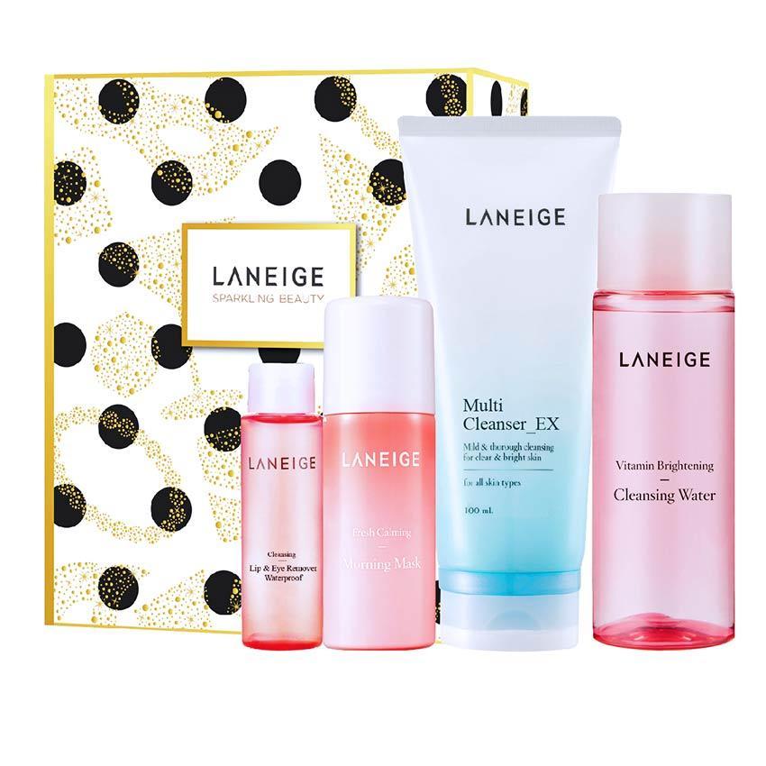 Bộ làm sạch, tẩy trang và dưỡng ẩm dịu nhẹ cho da Laneige Cleansing Set