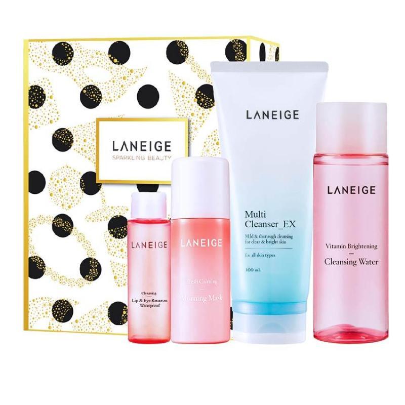 Bộ làm sạch, tẩy trang và dưỡng ẩm dịu nhẹ cho da Laneige Cleansing Set nhập khẩu