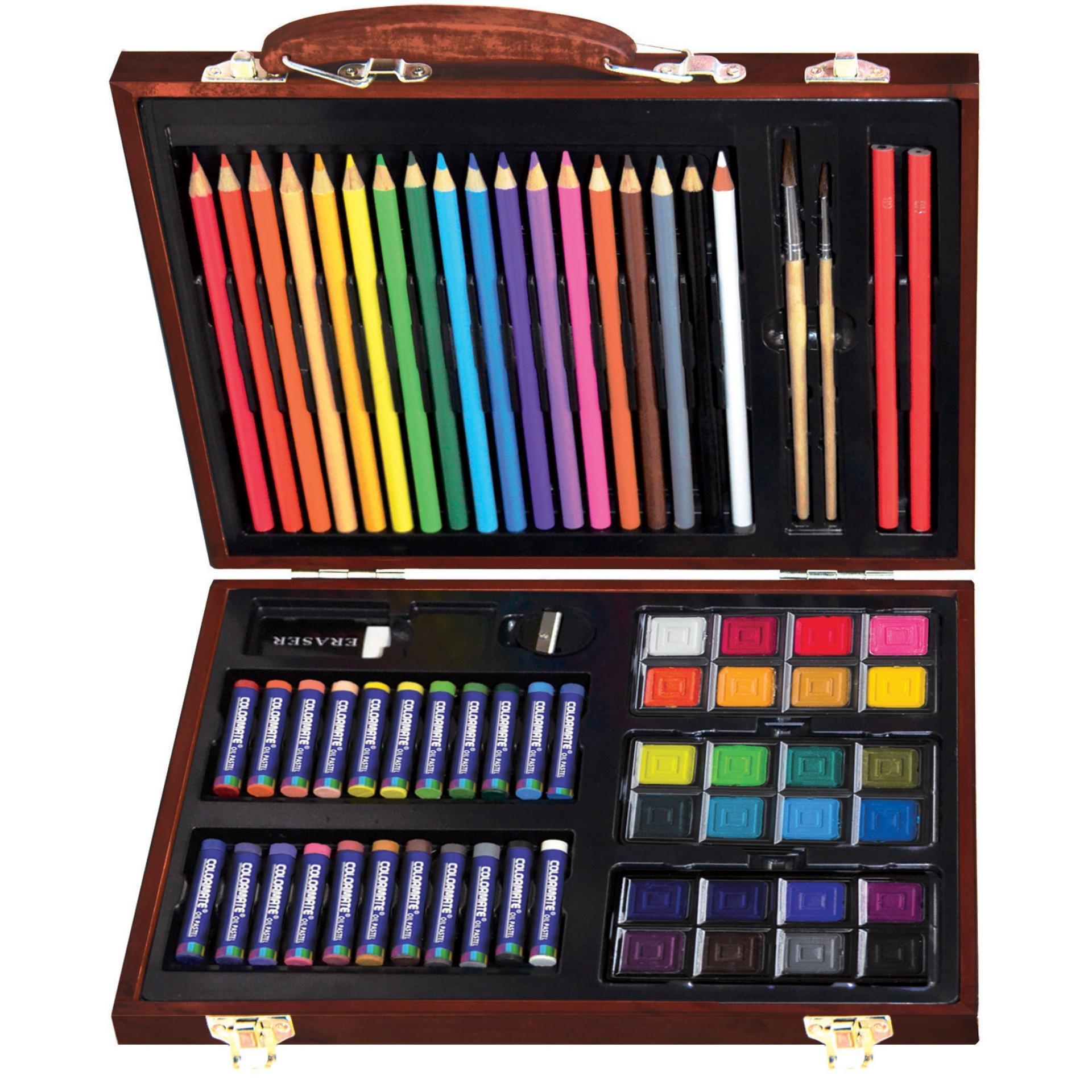 Hình ảnh Bộ màu vẽ đa năng hộp gỗ Colormate MS-74W