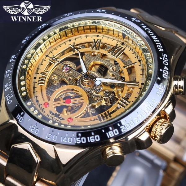 Đồng hồ nam Winner TM432 cơ lộ máy dây thép không gỉ (Nhiều màu)