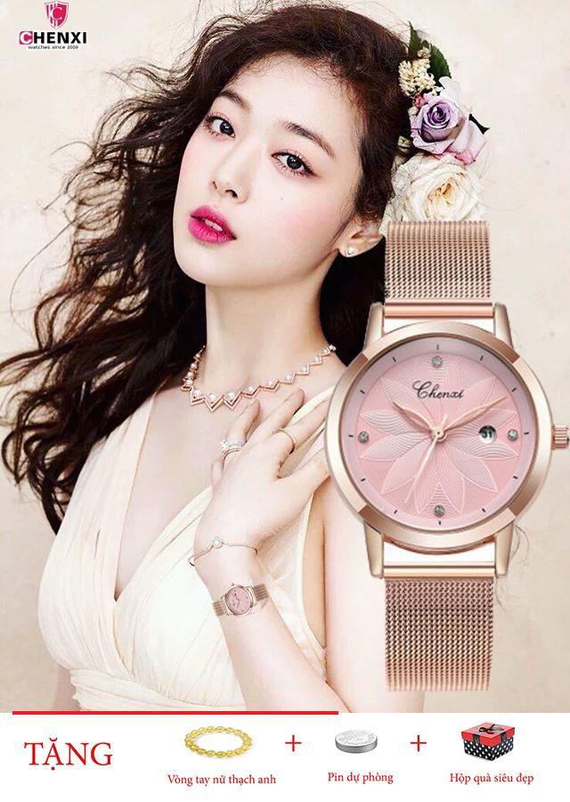 Đồng hồ nữ CHENXI CX003 dây thép lụa cao cấp, kính tráng sapphire in Hoa 3D nổi sang trọng bán chạy