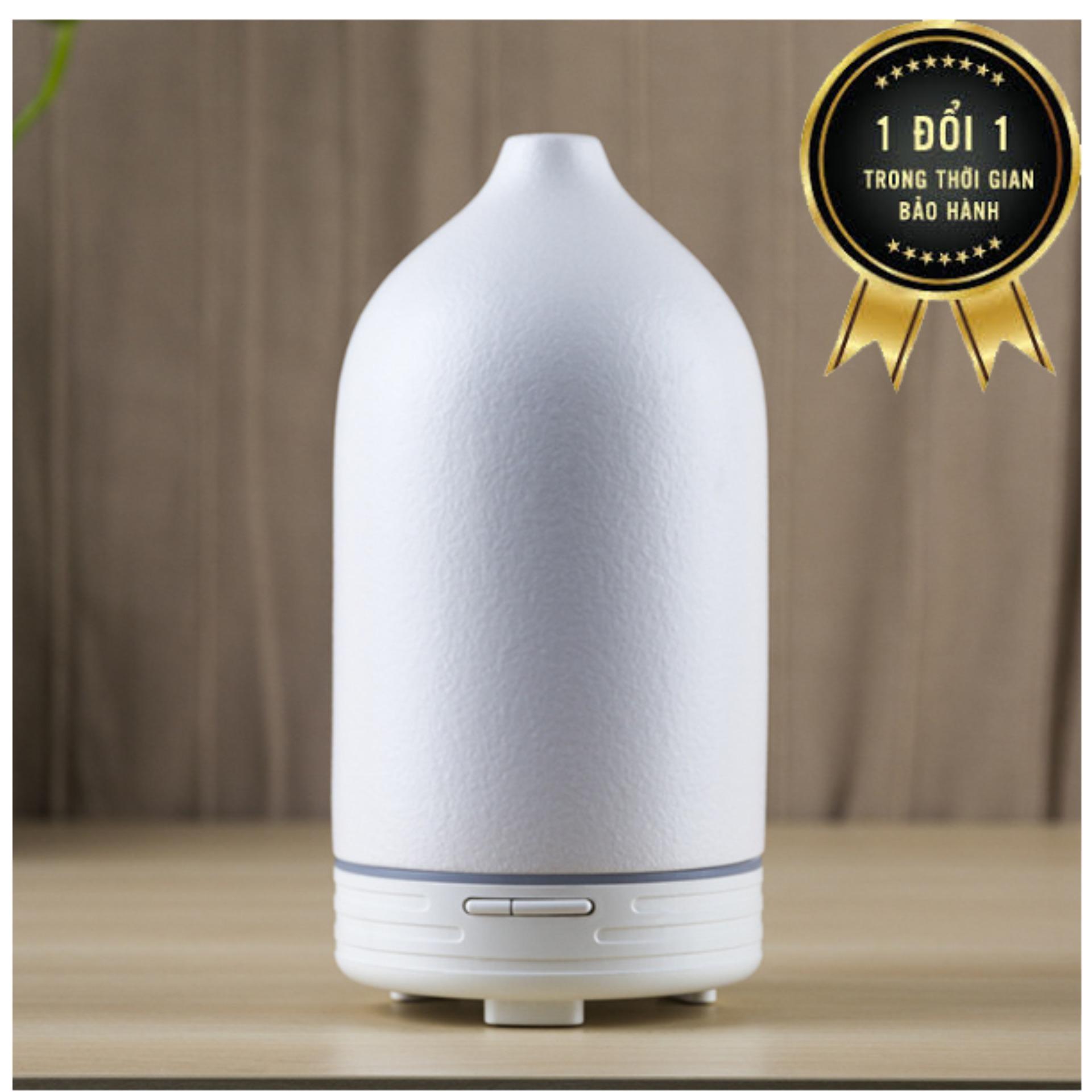 Máy phun sương khuếch tán tinh dầu gốm trắng dung tích 120ml 2 chế độ dành cho phòng dưới 30m2  tặng 10ml tinh dầu bạc hà ngọc tuyết