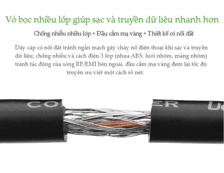 Cáp sạc và truyền dữ liệu hỗ trợ cổng USB 2.0 sang USB Type C độ dài từ 0.25-3m UGREEN US141 - Hãng phân phối chính thức