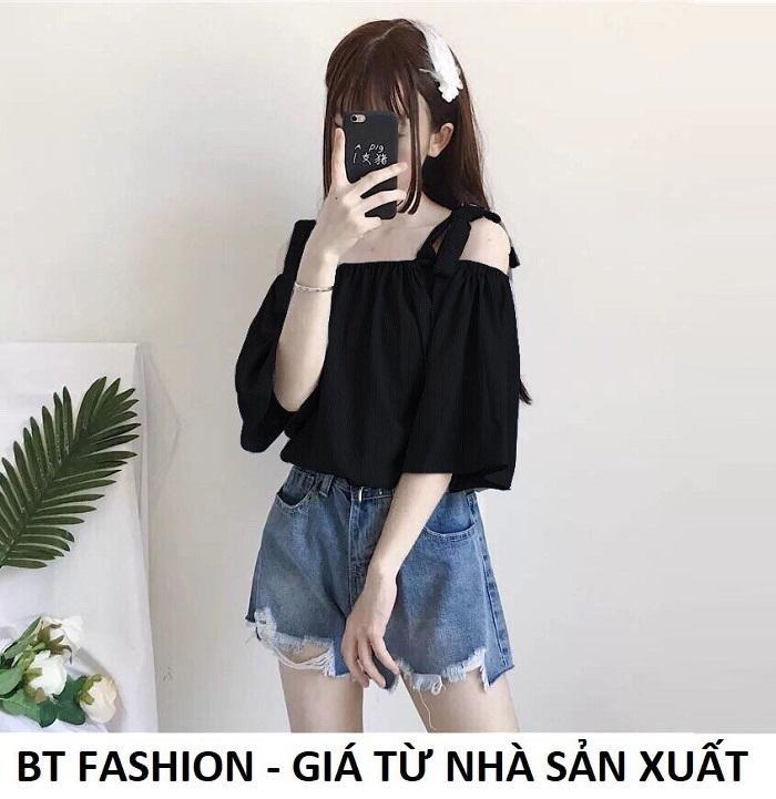 Áo Nữ Kiểu Trễ Vai, Voan Thời Trang Hàn Quốc Mới - BT Fashion (AK01- Nơ Vai) Nhật Bản