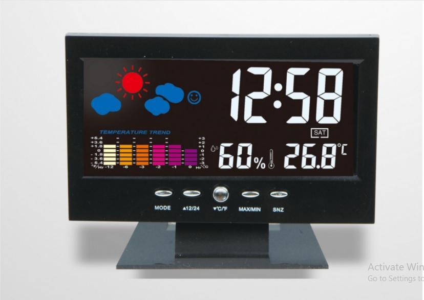 Offer Khuyến Mại Đồng Hồ Để Bàn LED LCD Báo Thức Thời Tiết Cảm Biến Âm Thanh Cao Cấp DS-8082