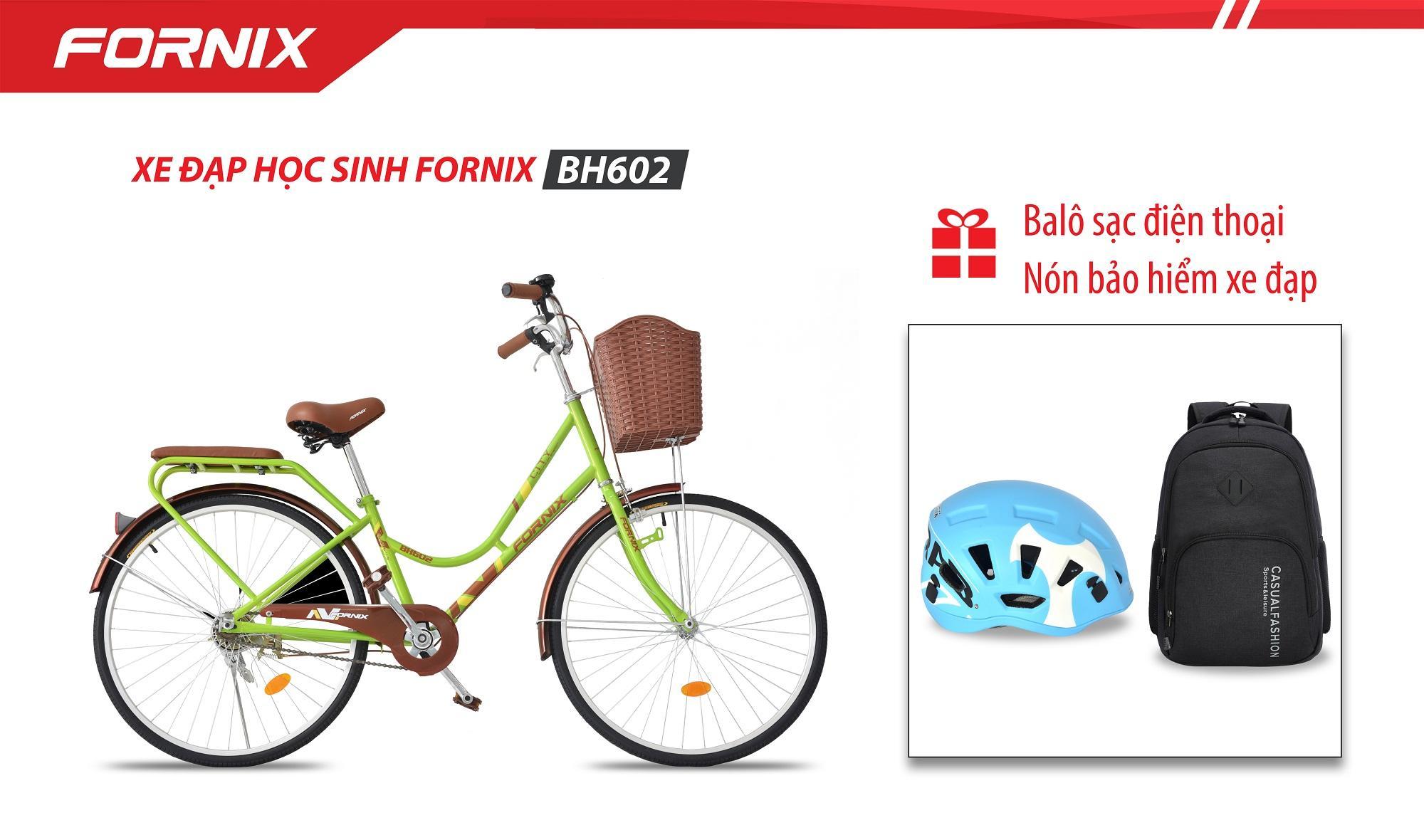 Xe đạp phổ thông Fornix BH602 + (Gift) Nón BH A02A5L, Ba lô sạc điện thoại