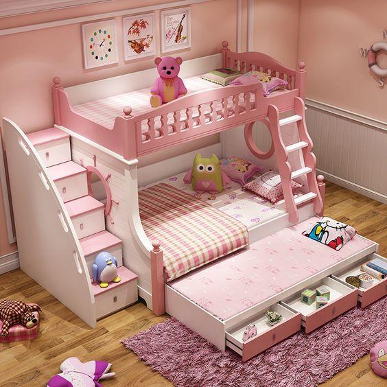 Bộ giường tầng MDF chống ẩm sơn hấp 7 lớp